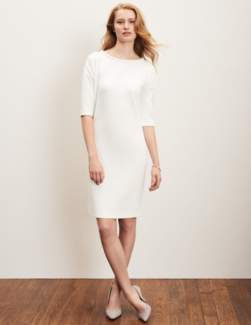 Corporate-Style-Story-Summer-Dresses-for-the-office-crepe-jersey-length-white-dress-winser-london