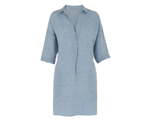 Corporate-Style-Story-Summer-Dresses-for-the-office-whistles-linen-lola-dress-blue